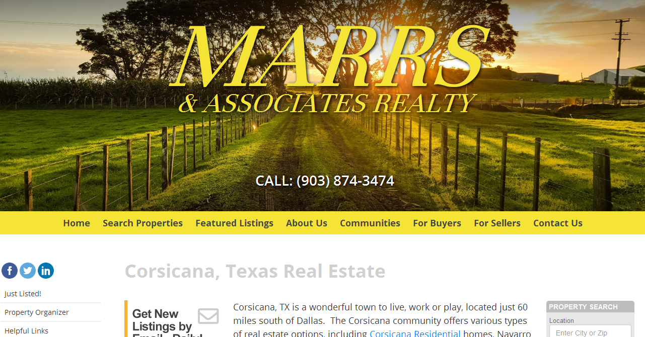 Corsicana, Texas Real Estate - Marrs & Associates, Realtor